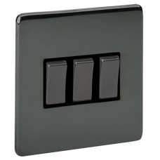 Screwless Magnetic Black Nickel 3 Gang Plate Switch