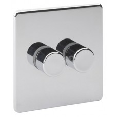 Screwless Magnetic Polished Chrome 2 Gang Dimmer Switch