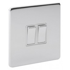 Screwless Magnetic Polished Chrome 2 Gang Plate Switch