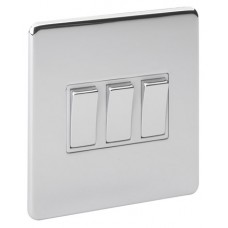 Screwless Magnetic Polished Chrome 3 Gang Plate Switch