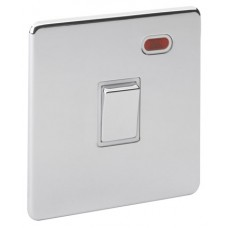Screwless Magnetic Polished Chrome Double Pole Switch