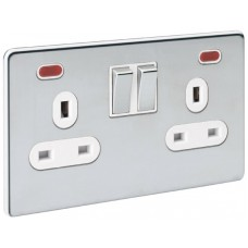 Screwless Magnetic Polished Chrome Socket Outlet