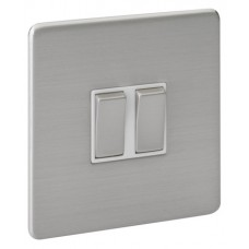 Screwless Magnetic Stainless Steel 2 Gang Plate Switch