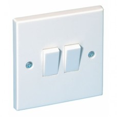 2 Gang Plate Switch White