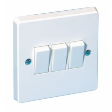 3 Gang Plate Switch White Plastic