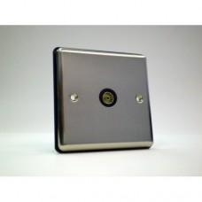 1g TV Socket Brushed Chrome with Black Insert