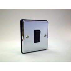 1g 2 way Plate Switch Polished Chrome with Black Insert