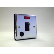 20a Double Pole Switch with Neon F/Outlet Polished Chrome Black Insert