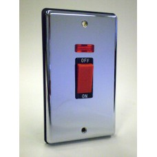45a Cooker Switch with Neon Polished Chrome Black Insert