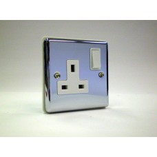 1g Switched Socket Polished Chrome with White Insert