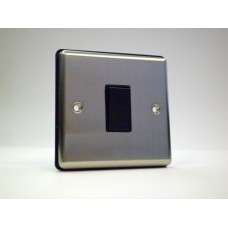 1g 2w Plate Switch Brushed Chrome with Black Insert