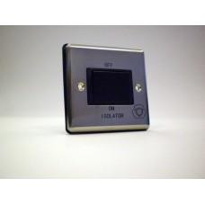 1g 3 Pole Fan Isolator Switch Brushed Chrome with Black Insert