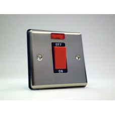 1g 45a Cooker Switch with Neon Brushed Chrome with Black Insert