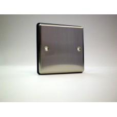 1g Blank Plate Brushed Chrome with Black Insert
