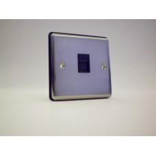 1g Telephone Socket (Master) Brushed Chrome with Black Insert