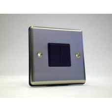 2g 2w Plate Switch Brushed Chrome with Black Insert