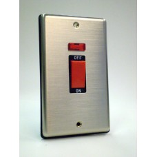 2g (Tall) 45a Cooker Switch with Neon Brushed Chrome with Black Insert