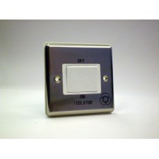 1g 3 Pole Fan Isolator Switch Brushed Chrome with White Insert