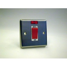 1g 45a Cooker Switch with Neon Brushed Chrome with White Insert