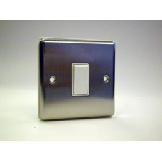 1g Intermediate Plate Switch Brushed Chrome with White Insert