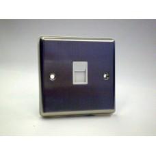 1g Telephone Socket (Master) Brushed Chrome with White Insert