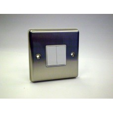 2g 2w Plate Switch Brushed Chrome with White Insert