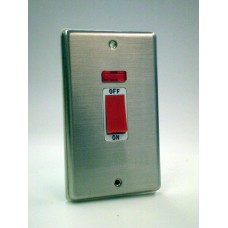 2g (Tall) 45a Cooker Switch Brushed Chrome with White Insert