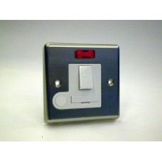 Connection Unit Switched Spur with Neon Brushed Chrome White Insert
