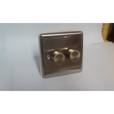 2g 2w 400w Dimmer Switch Brushed Chrome with White Insert