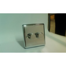 2g 2w 400w Polished Chrome Dimmer Switch with Black Insert