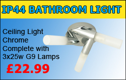 Chrome IP44 Bathroom Ceiling Light