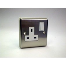 1g Switched Socket Brushed Chrome with White Insert